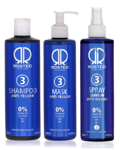 Rosted 3-3-3 Anti–Yellow Pakke Rosted 3 Shampoo 400 ml - Rosted 3 Mask 300 ml - Rosted 3 Spray 300 ml – Værdi 687,-